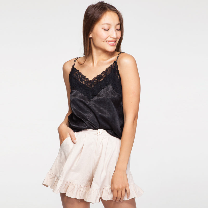 Satin and Lace Cami Top in Black