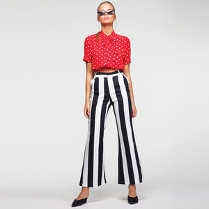 Tailored Black and White Striped Pants