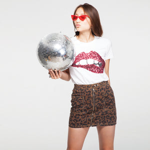 Printed Red Sequence Lips T-Shirt