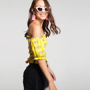 Drug Print Smock Off Shoulder Top in Yellow