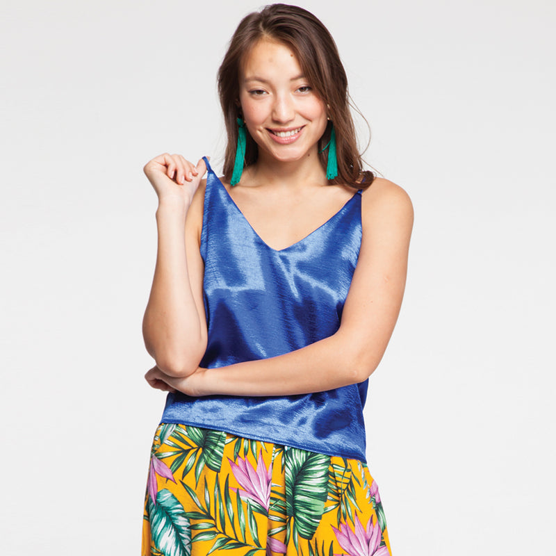 Satin Cami Top Oversize in Blue