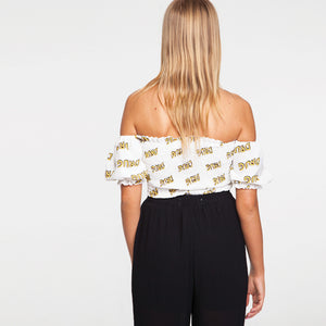 Drug Print Smock Off Shoulder Top in White