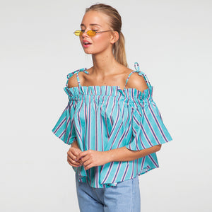Stripe Off Shoulder Oversize Top in Green