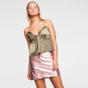 Satin V Neck Cami Top in Olive Green
