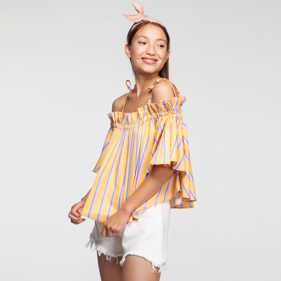 Stripe Off Shoulder Oversize Top in Yellow