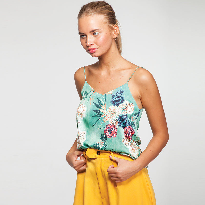 Floral Cami Top in Green