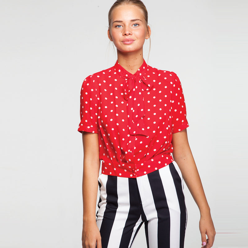 Dots Buttoned Shirt in Red