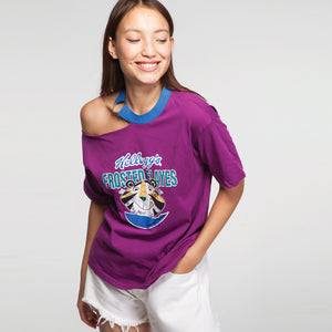 Open Shoulder Printed T-Shirt in Purple