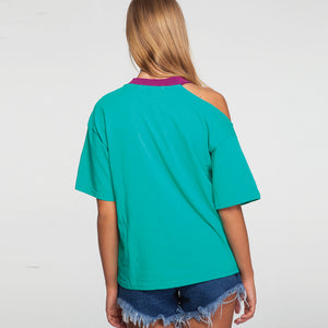 Open Shoulder Printed T-Shirt in Green