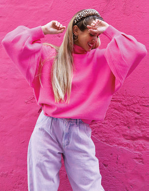 Bell Sleeve Sweater in Hot Pink