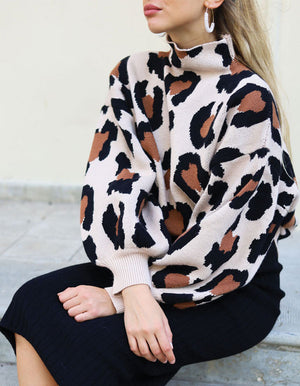 Bell Sleeve Sweater in Leopard