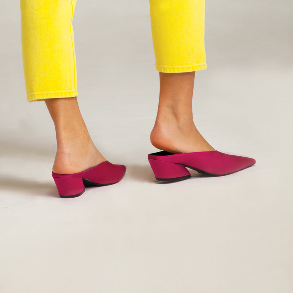 fcce3d13e8a8 Hot Pink Mid Heel Mules - Toppatsu