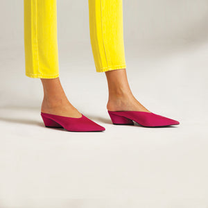 Hot Pink Mid Heel Mules