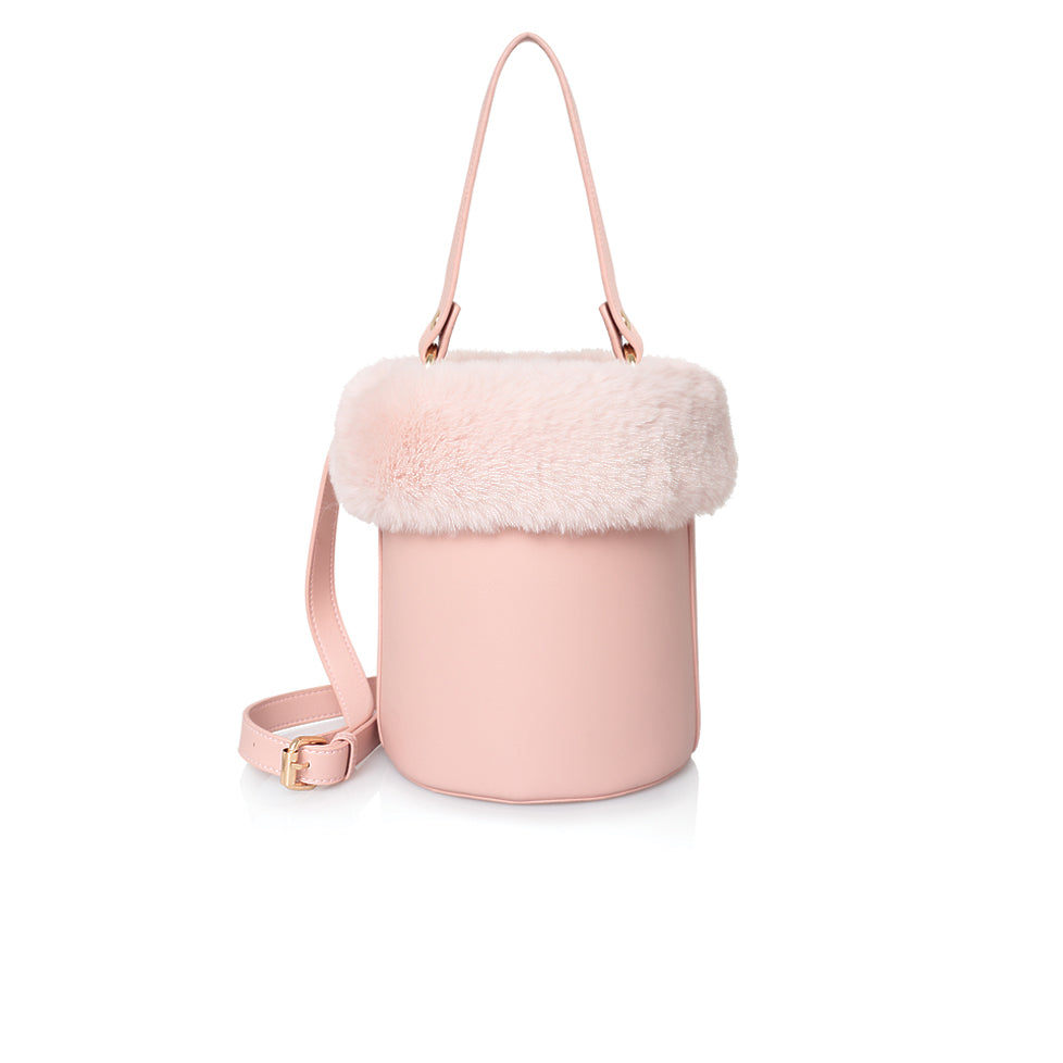 Pink Rounded Faux Leather and Fur Bag