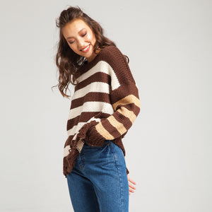Stripes Knitted Brown Sweater