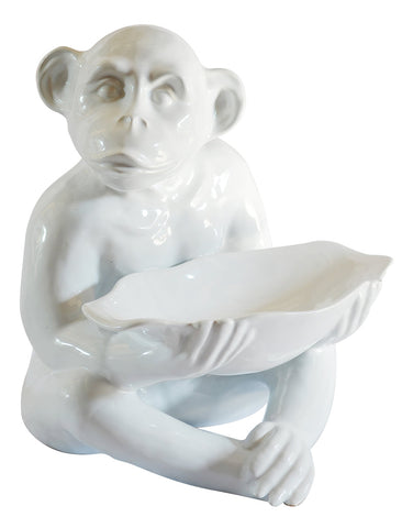 Ceramic Monkey Bowl White Large
