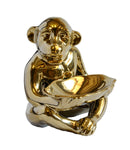 Ceramic Monkey Statue Gold Small