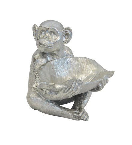 Resin Monkey Bowl Silver