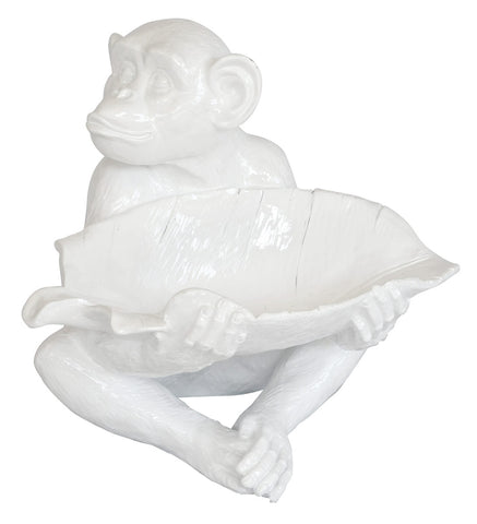 Resin Monkey Bowl White