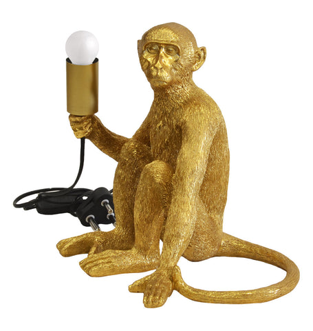 Resin Monkey Lamp Gold