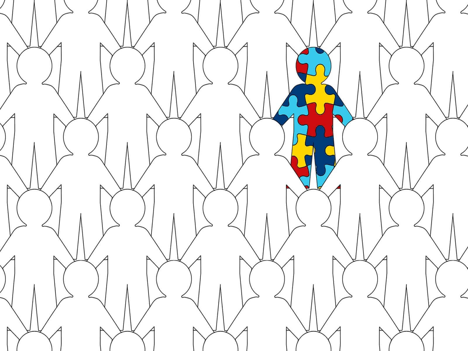 colorful figure standing out depicting autism