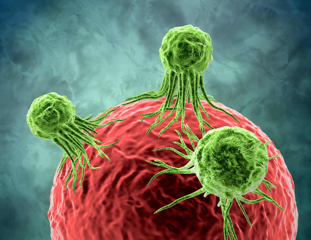 close up of cancer growth on a blood cell