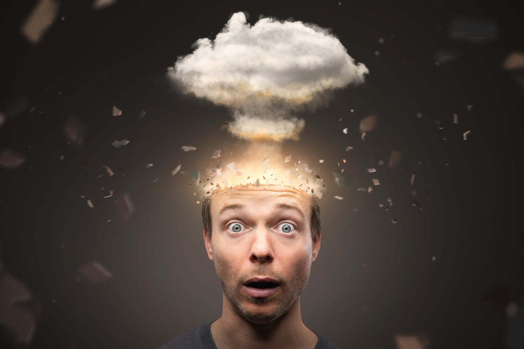 man's head exploding depicting difficulty concentrating