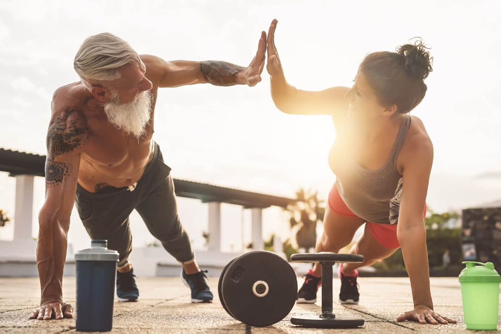 healthy man and woman working out