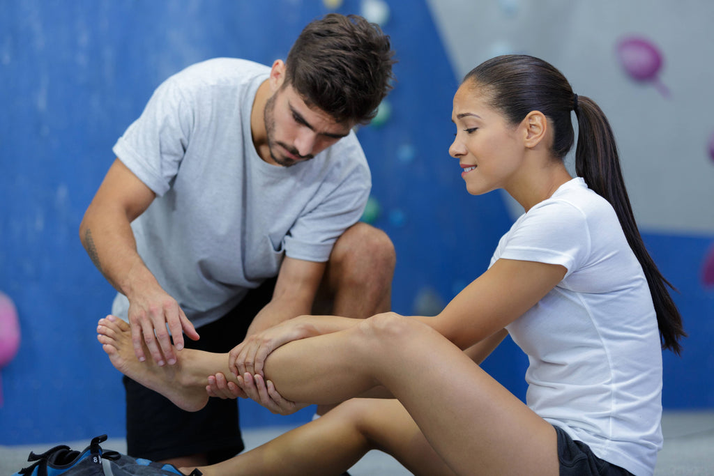 gymnast with ankle pain depicting the uses of topical cbd