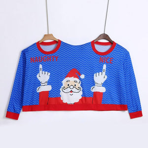 Blue Two Person Couple Santa Naughty & Nice Christmas Sweater