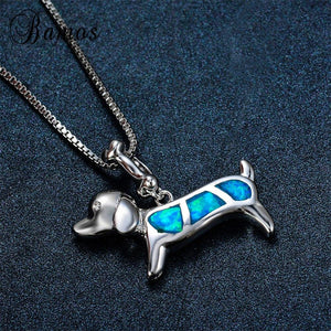 Cute Blue Fire Opal Dachshund Dog Necklace