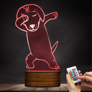 Dabbing Dachshund Color Changing LED Lamp Night Light