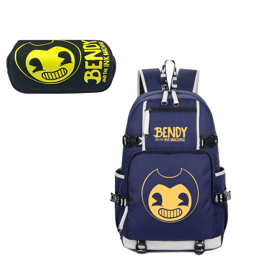 Bendy And The Ink Machine Classic Logo Pattern Backpack and Pencil Case Back to School Set 2 In 1 Bag