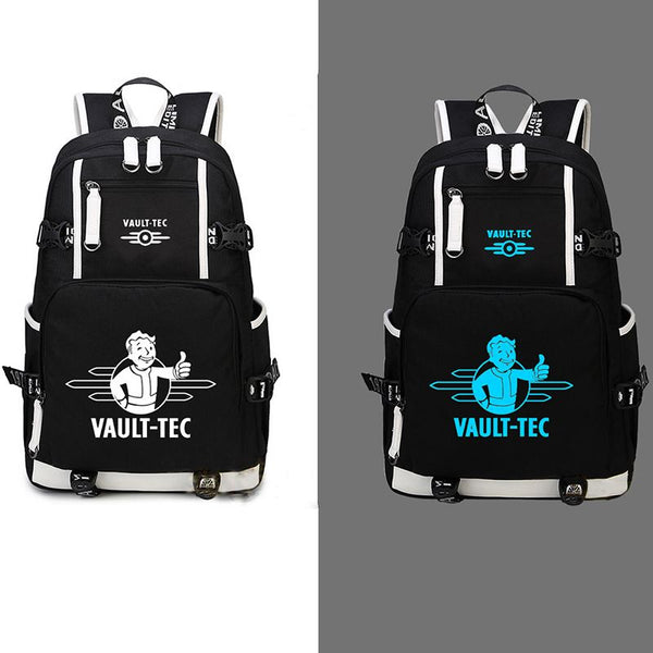 Fallout 4 Pipboy Vault-tec Pattern Backpack Schoolbag Glow In Dark Bag