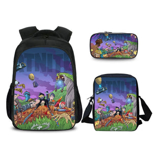 Fortnite Battle Royale All Character Comic Pattern Backpack Pencil Case And Shoulder Bags Back to School Set 3 In 1
