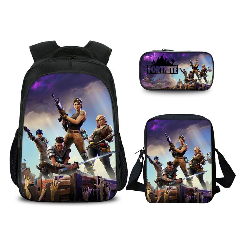 Fortnite Battle Royale All Soldier Pattern Backpack Pencil Case And Shoulder Bags Back to School Set 3 In 1