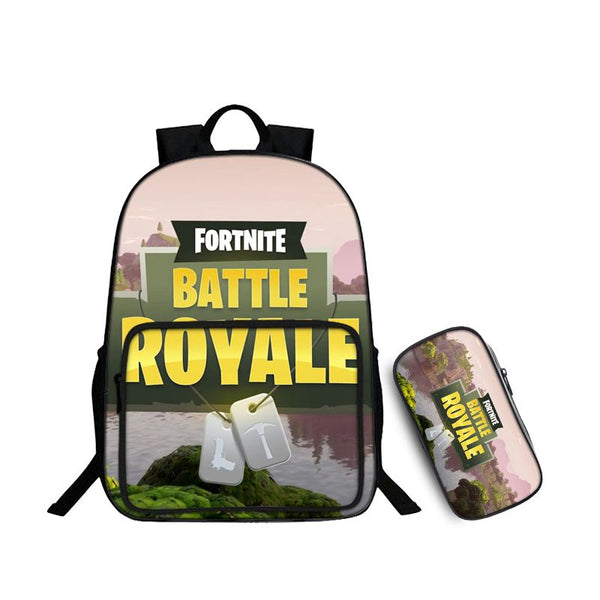 Fortnite Battle Royale Fortnite Logo Jungle Pattern Backpack and Pencil Case Back to School Set 2 In 1 Bag