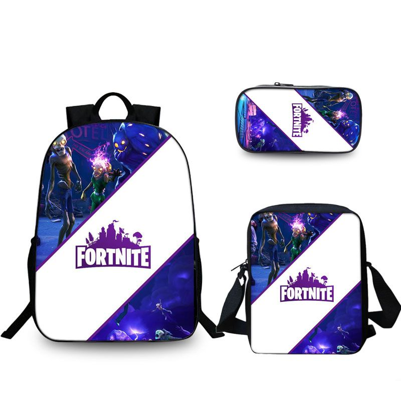 Fortnite Battle Royale Logo & Husk Backpack Pencil Case Shoulder Bags Back to School Set 3 In 1