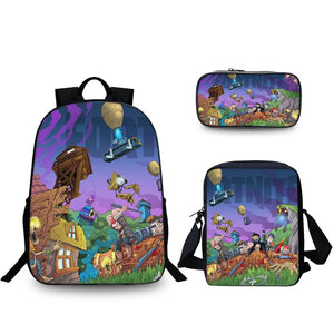 Fortnite Battle Royale Zombie Coming Comic Pattern Backpack Pencil Case And Shoulder Bags Back to School Set 3 In 1