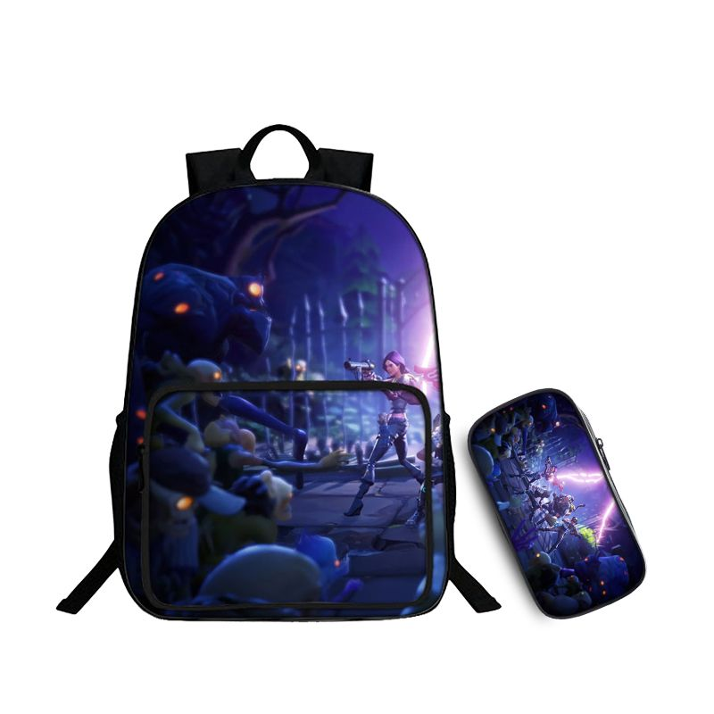 Fortnite Battle Royale Zombie Coming Pattern Purple Backpack and Pencil Case Back to School Set 2 In 1 Bag