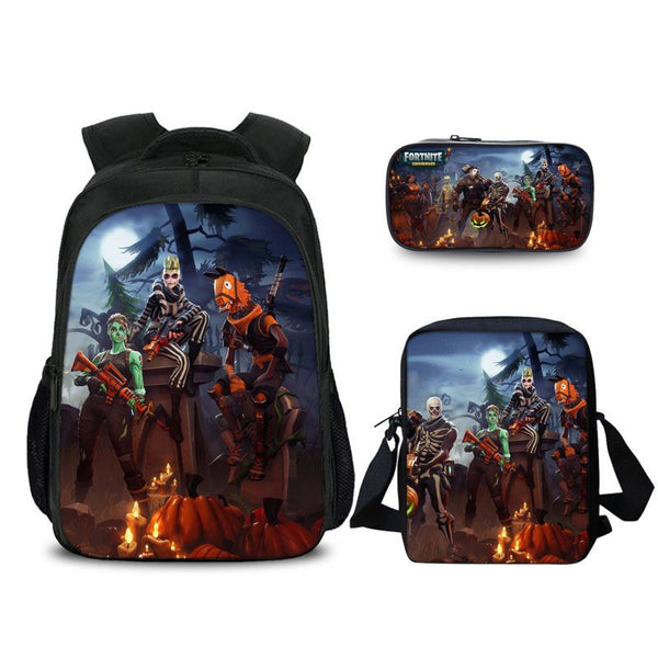 Fortnite Battle Royale Zombie Horse Pattern Backpack Pencil Case And Shoulder Bags Back to School Set 3 In 1