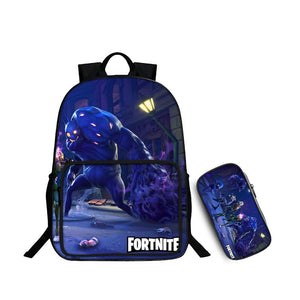 Fortnite Battle Royale Zombie Husky Pattern Backpack and Pencil Case Back to School Set 2 In 1 Bag