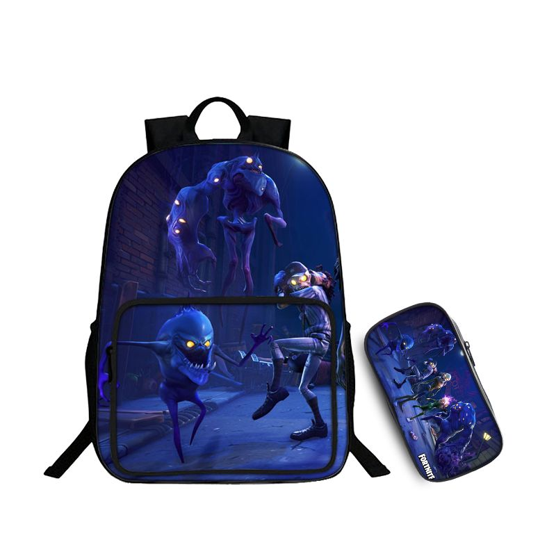 Fortnite Battle Royale Zombie Sploder Lobber Husky Pattern Backpack and Pencil Case Back to School Set 2 In 1 Bag