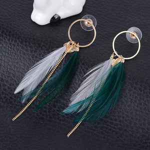 Feather Gold Round Shape Dangle Feather Drop Earrings