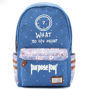 Justin Bieber Clock Logo Blue Backpack Schoolbag For Kids Girls Fans Bags