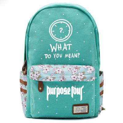 Justin Bieber Clock Logo Green Backpack Schoolbag For Kids Girls Fans Bags