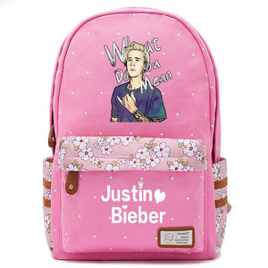 Justin Bieber What Do You Mean Logo Pink Backpack Schoolbag For Girls Fans Bags