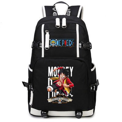 One Piece Theme Fighting Anime Series Backpack Schoolbag Daypack Fight Luffy Bag