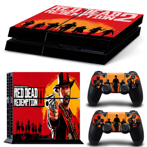 PS4 Slim Console + 2x Controller Sticker Bundle - Red Dead Redemption 2