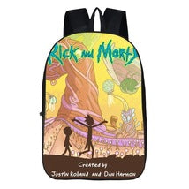 Rick And Morty Theme Backpack Daypack Schoolbag Scene One Bag